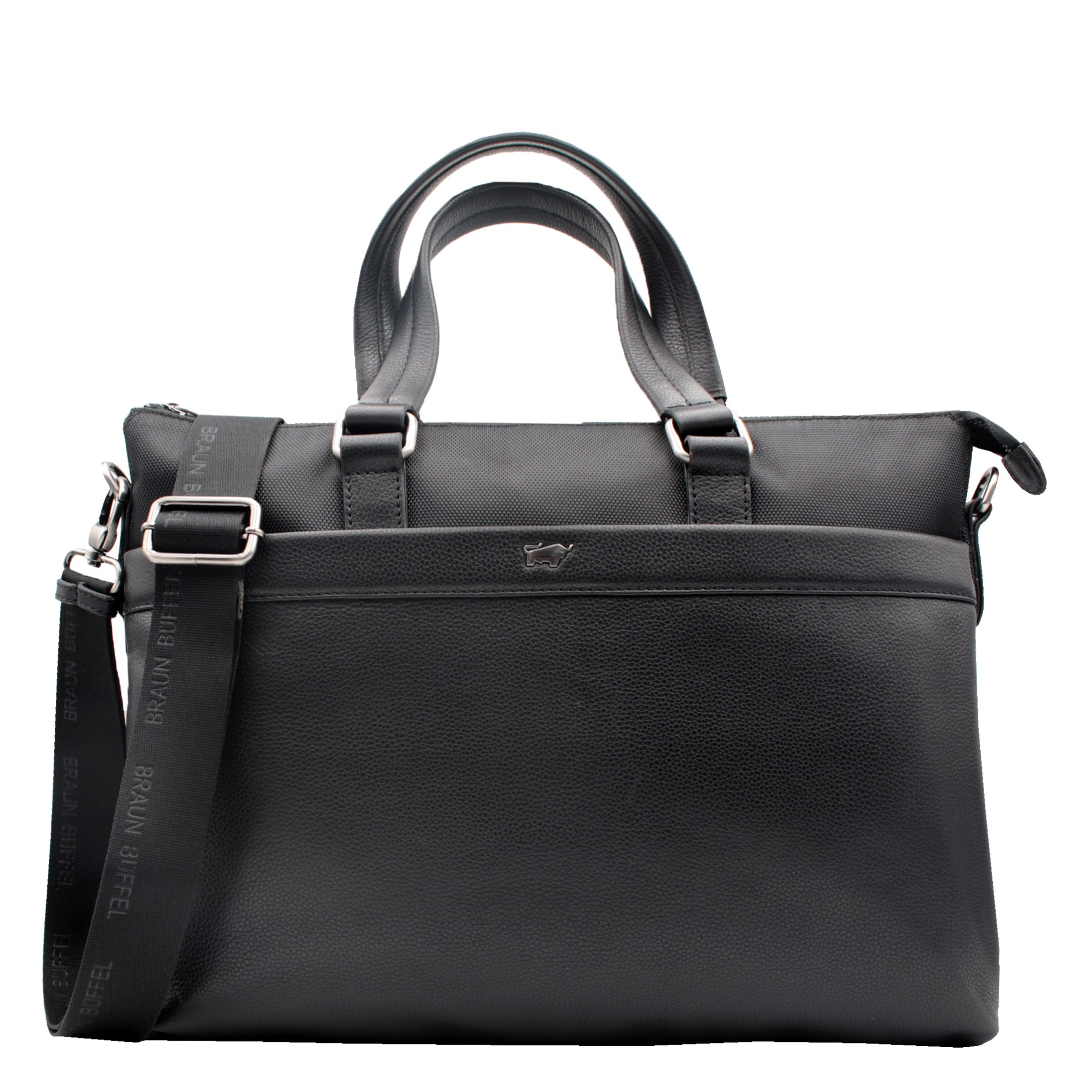 paxos-businesstasche-m-schwarz-genarbtes Rindleder und Nylon-15064-780-010-31